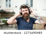 man bearded hipster with... | Shutterstock . vector #1271690485