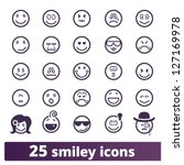 smiley icons  vector set of... | Shutterstock .eps vector #127169978
