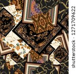 seamless chain, paisley, flowers patchwork pattern. vintage