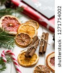 christmas decoration with dry... | Shutterstock . vector #1271714002