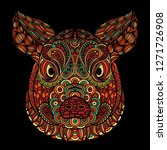 colorful ornamental head of pig ... | Shutterstock . vector #1271726908