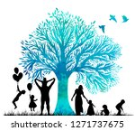 silhouettes of family and... | Shutterstock .eps vector #1271737675