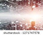 abstract image of two modern... | Shutterstock . vector #1271747578