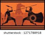 orange and black figures... | Shutterstock .eps vector #1271788918