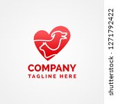 Stock vector pet love heart logo template 1271792422