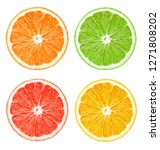 composition of citrus slices on ... | Shutterstock . vector #1271808202
