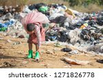 Stock photo poor children collect garbage for sale because of poverty junk recycle child labor poverty 1271826778