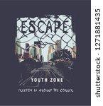 escape slogan on city background | Shutterstock .eps vector #1271881435