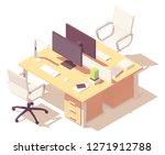 vector isometric office desk.... | Shutterstock .eps vector #1271912788