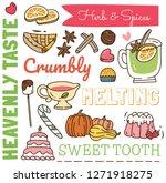 restaurant background in doodle ... | Shutterstock .eps vector #1271918275