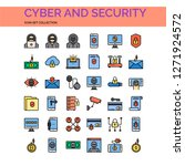 cyber and security icons set.... | Shutterstock .eps vector #1271924572