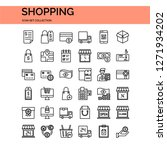 shopping icons set. ui pixel... | Shutterstock .eps vector #1271934202