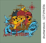 pirate world vector | Shutterstock .eps vector #127194356