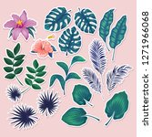 cute tropical stickers and... | Shutterstock .eps vector #1271966068