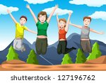 a vector illustration of happy... | Shutterstock .eps vector #127196762