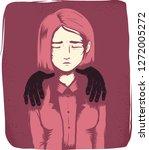 illustration of an office girl... | Shutterstock .eps vector #1272005272