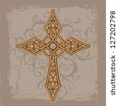 cross design on distressed... | Shutterstock .eps vector #127202798