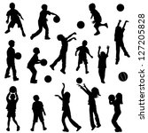 Various Silhouettes Of Childre...