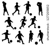 active lifestyle,boys,children,clip art,football,kicking,kids,playing,running,silhouettes,soccer,sports,vector,youth