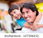 happy father playing with his... | Shutterstock . vector #127206212