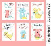 set of cards with cute pet... | Shutterstock . vector #1272067612