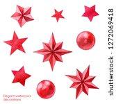 red stars. watercolor...   Shutterstock . vector #1272069418