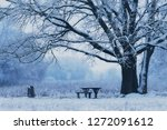wooden bench a winters day in... | Shutterstock . vector #1272091612