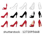set of high heel shoes for... | Shutterstock .eps vector #1272095668