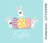 happy easter greeting card with ... | Shutterstock .eps vector #1272103498