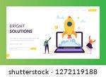 creative startup rocket launch... | Shutterstock .eps vector #1272119188