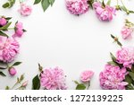 flowers composition. frame made ... | Shutterstock . vector #1272139225
