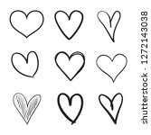 hand drawn grunge hearts on... | Shutterstock . vector #1272143038