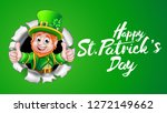 a cute leprechaun cartoon... | Shutterstock . vector #1272149662