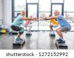 happy senior multiethnic... | Shutterstock . vector #1272152992