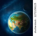 kyrgyzstan from space on planet ...   Shutterstock . vector #1272158125
