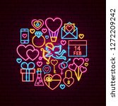valentine day neon concept.... | Shutterstock .eps vector #1272209242