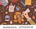 christmas greeting card...   Shutterstock .eps vector #1272219145