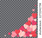 red hearts confetti splash on... | Shutterstock .eps vector #1272242758