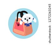 cute lap dog in the woman's... | Shutterstock .eps vector #1272263245