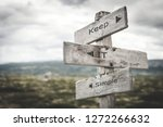 Stock photo keep it simple signpost nature adventure message text quote concept 1272266632