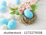 colorful easter eggs and spring ... | Shutterstock . vector #1272275038