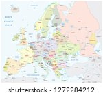detailed colored europe map... | Shutterstock .eps vector #1272284212