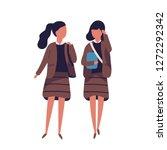 pair of girls dressed in school ... | Shutterstock .eps vector #1272292342