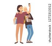 pair of students holding books... | Shutterstock .eps vector #1272313312