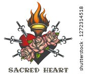 sacred heart piersed by swords... | Shutterstock . vector #1272314518