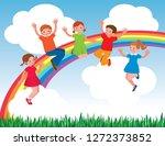 group of cheerful children... | Shutterstock .eps vector #1272373852