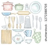 big set with various... | Shutterstock . vector #1272388705