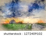 digital watercolor painting of... | Shutterstock . vector #1272409102