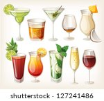 collection of alcohol coctails... | Shutterstock .eps vector #127241486