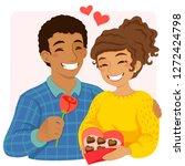 romantic couple on valentine's...   Shutterstock .eps vector #1272424798